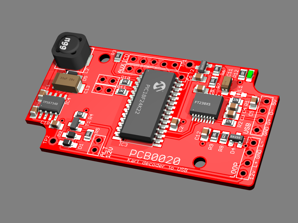 3D rendering of Kart Decoder Mk1 PCB