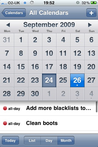 Remember The Milk events in the iPhone calendar
